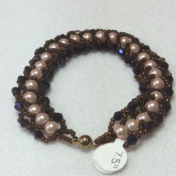 Handmade Jewelry Pearl Crystal And Seed Bead Bracelet Poshmark